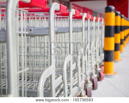 stack of shopping cart in the supermarket