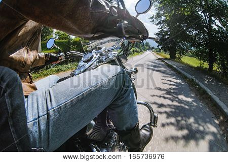 Biker Driving His Motorcycle On The Open Road