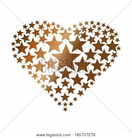 Heart made with golden stars isolated on white background. Golden heart icon. Vector illustration