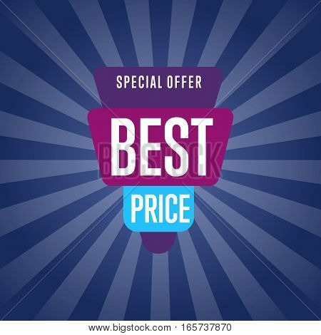 Best price discount sale sticker isolated vector illustration. Special offer tag, price discount promo, super sale ad, advertisement retail label, exclusive shopping symbol. Modern style offer sign.