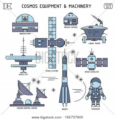 Vector thin line set of cosmos equipment machinery. Observatory rescue capsule lunar rover space city station satellite mission control center rocket spacesuit. For poster website postcard.