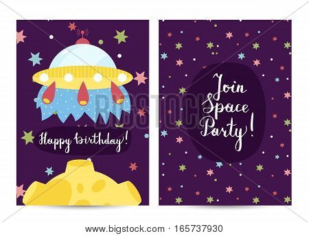 Happy birthday cartoon greeting card on space theme. Flying alien spaceship and moon among dolorous stars vector. Bright invitation on childrens costumed party. Greeting card for kids. Cartoon space on happy birthday greeting cards