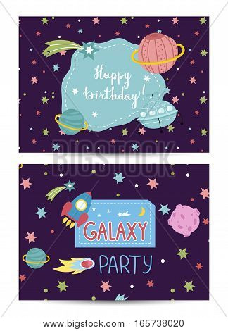 Happy birthday cartoon greeting card on space theme. Colorful stars, planets, meteorite, comet, flying saucer, rocket vector illustrations on blue background. Invitation on childrens costumed party