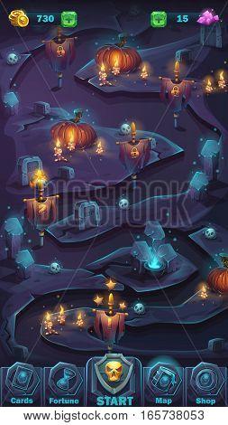 Vector cartoon illustration game user interface - background horrible Halloween wall with pumpkin map window