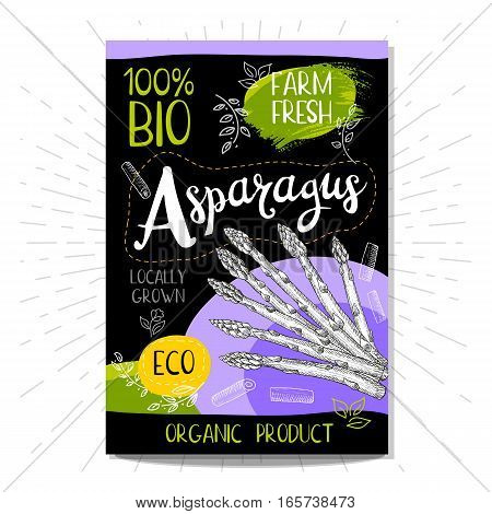 Colorful label in sketch style, food, spices, black background. Asparagus. Vegetables. Bio, eco, farm, fresh. locally grown. Hand drawn vector illustration.