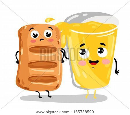 Cute puff pastry and lemonade cartoon characters isolated on white background vector illustration. Funny fast food menu, bakery pastry emoticon face icon. Happy smile cartoon face, comical puff, drink