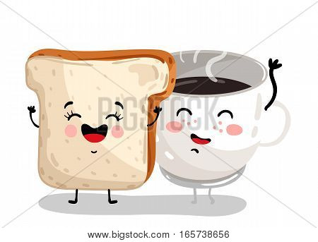 Cute toast bread and coffee cup cartoon character isolated on white background vector illustration. Funny hot drink, bakery pastry emoticon face icon. Happy smile cartoon face food, comical breakfast