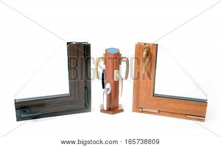 Two window frames and the plastic handles on the rack