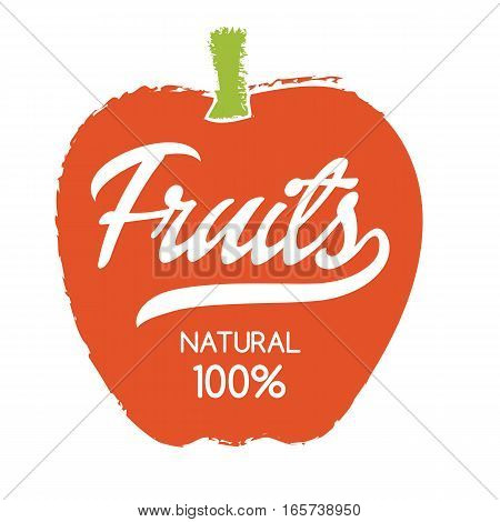 Natural fruits label with apple silhouette hand drawn isolated vector illustration. Natural farming symbol. Daily fresh eco product hand sketch badge, icon. Local fruit farm, organic garden logo.