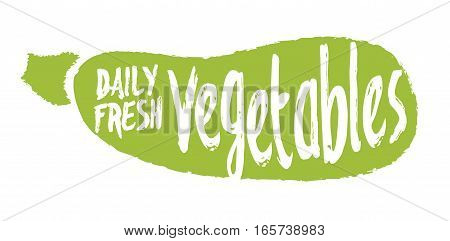 Daily fresh vegetables label with squash silhouette hand drawn isolated vector illustration. Natural farming symbol. Daily fresh eco product hand sketch badge, icon. Local farm, organic garden logo.
