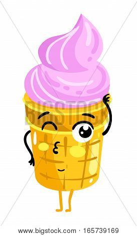 Cute ice cream cartoon character isolated on white background vector illustration. Funny positive and friendly sweet dessert emoticon face icon. Happy smile cartoon face food, comical ice cream mascot