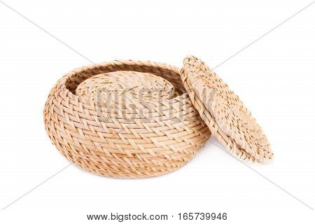 Wicker boxes isolated on a white background.