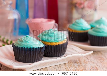 Two vanilla cupcakes with mint cream on a decorative plate