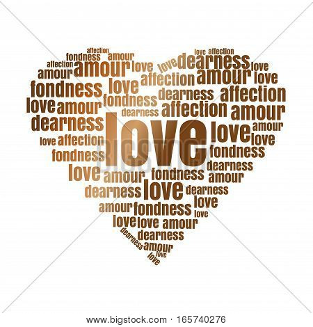 Golden heart made up of words. Golden heart icon. Romantic design concept. Romantic words bred in the shape of heart. Vector design elements for Valentine's Day