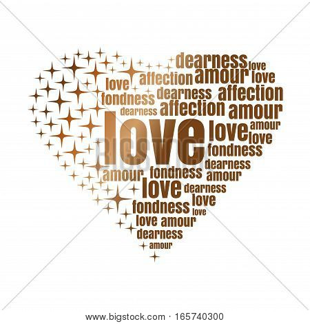 Golden heart made up of words and stars. Romantic design concept. Romantic words bred in the shape of heart. Vector design elements for Valentine's Day