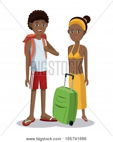 travel afro couple tourist vacation luggage vector illustration eps 10