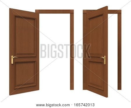 Open Doors Isolated on white background. 3D render
