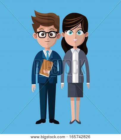 cartoon man woman coworkers corporate vector illustration eps 10