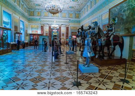 Saint Petersburg, Russia - December 25, 2016: Tourists Visiting Middle Age Military Hall In Hermitag