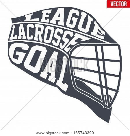 Sports symbols of Lacrosse with typography. Vector Illustration isolated on white background.