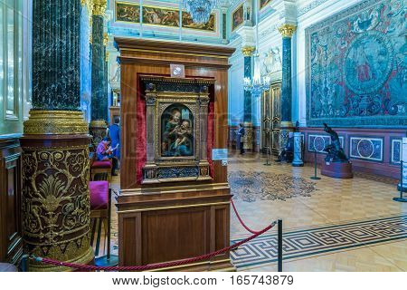 Saint Petersburg, Russia - December 25, 2016: Picture Of Leonardo De Vinci In The Hermitage