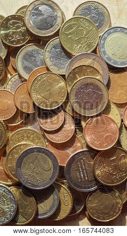Many Euro Coins - Vertical
