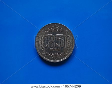 Twenty Five Cents Coin, Turkey Over Blue
