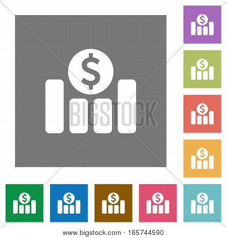 Dollar financial graph flat icons on simple color square backgrounds