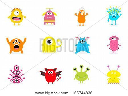 Monster big set. Cute cartoon scary character. Different emotion. Baby collection. White background Isolated. Happy Halloween card. Flat design. Vector illustration.