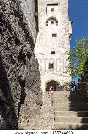 SALZBURG, AUSTRIA - APRIL 29, 2016: Fortress Hohensalzburg beautiful medieval castle in Salzburg Austria