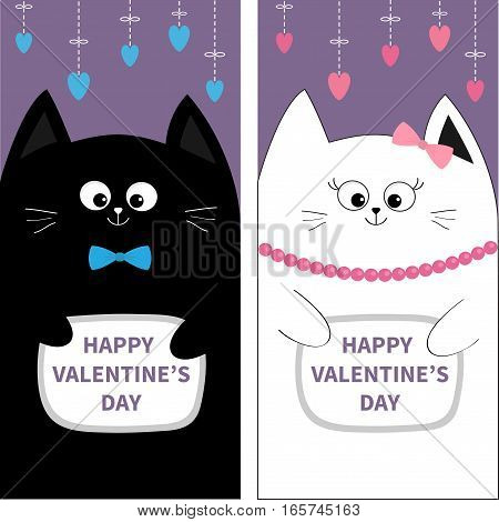 Black White Cat couple with bow. Flyer poster set. Cute funny cartoon character Hanging pink blue heart Dash line. Happy Valentines day. Greeting card Flat design Violet background Vector illustration
