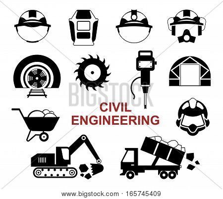 Set of black vector tools for civil engineering: different helmet types drilling rig drill excavator truck.
