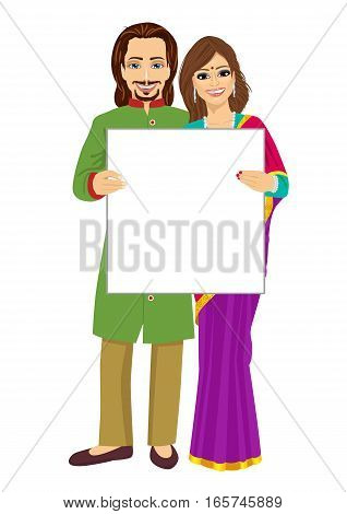 Indian couple holding empty blank board over white background