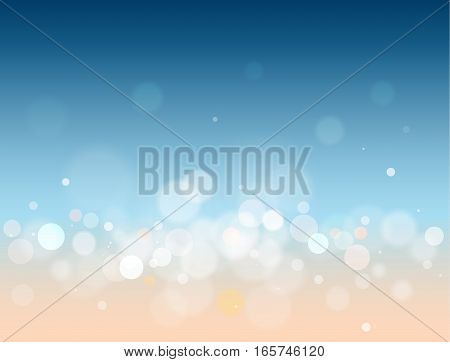 Blue and orange abstract glittering defocused bokeh vector background with colorful bokeh