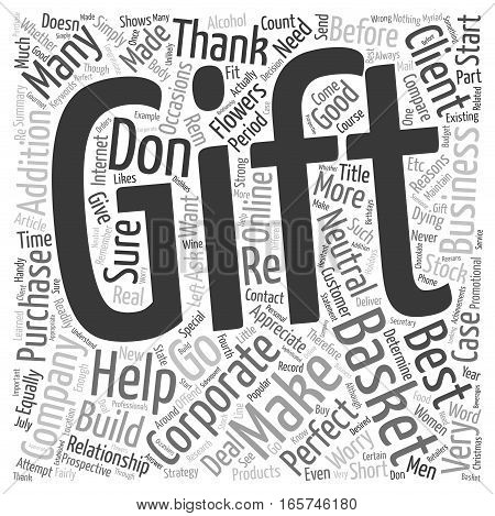 Corporate Gift Basket Help text background wordcloud concept