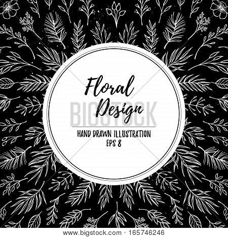Hand Drawn Vector Floral Template. Christmas Design Elements (leaf, Poinsettia, Holly, Fir And Pine