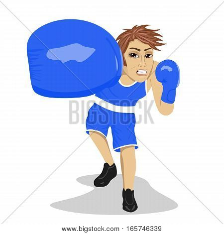 Boxing boxer. Young man with boxing gloves hitting and punching looking angry. Caucasian male model