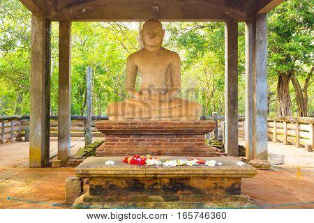 Anuradhapura Samadhi Buddha Statue Altar Close