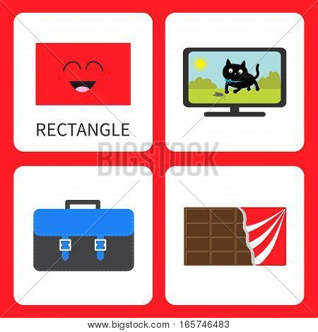 Learning rectangle form shape. Smiling face. Cute cartoon character. TV set cat school briefcase chocolate bar wrapping Educational cards for kids. Flat design White background. Vector illustration