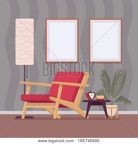 Retro interior original mid-century modern rest room, armchair, standing lamp, two wall frames for copyspace and mock up. Hotel accommodation or home cozy living space. Interior illustration