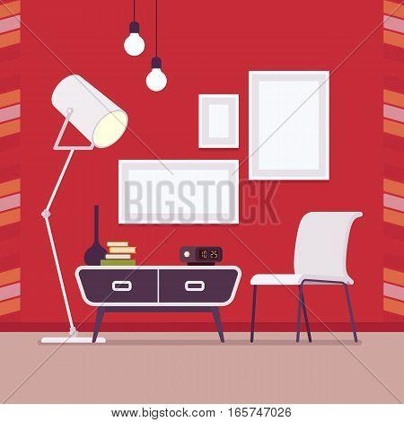 Retro interior original mid-century modern room, record console, chair, standing moon lamp, wall frames for copyspace , mock up. Hotel accommodation, home, studio space. Interior illustration