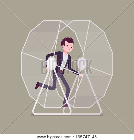 Frustrated businessman in a runnig wheel, keeps running in circles of routine, making the same mistakes in business, non progressing every day job, like a hamster doing useless activity