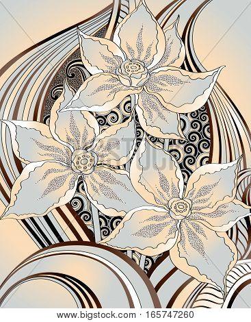 Three decorative flower on a beige background