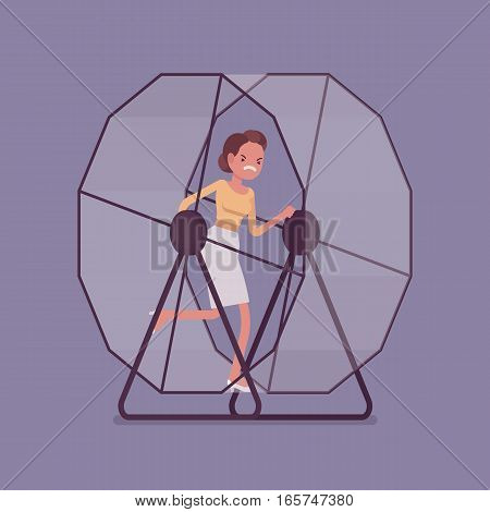 Frustrated businesswoman in a hamster wheel, running faster in the same direction, without meaning and purpose, workaday world, automatic living without enjoyment