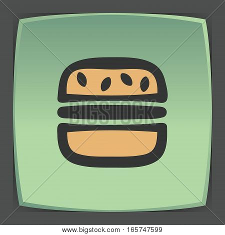Vector outline hamburger fast food icon on green flat square plate. Elements for mobile concepts and web apps. Modern infographic logo and pictogram.