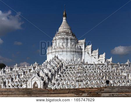 Mya Thein Dan Pagoda The white pagoda of Hsinbyume Paya temple Mingun Mandalay Myanmar