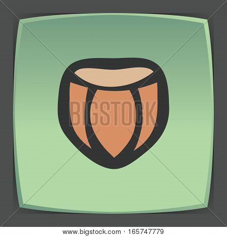 Vector outline hazelnut fruit food icon on green flat square plate. Elements for mobile concepts and web apps. Modern infographic logo and pictogram.