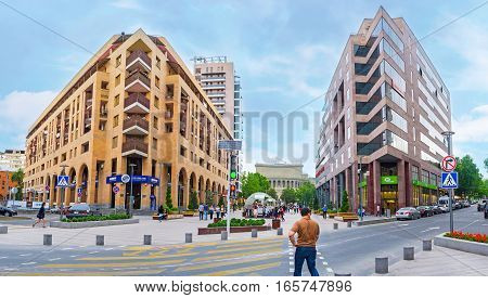 YEREVAN ARMENIA - MAY 29 2016: The Nothern Avenue is the modern luxury area with brand boutiques restaurants business centers and hotels on May 29 in Yerevan.