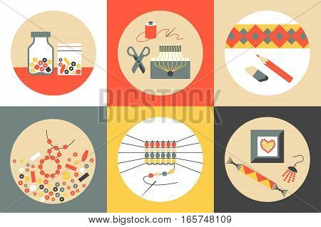 Set of six colored flat round vector icons on theme of beadwork jewelry work handicraft bead weaving hobby. Storage equipment process goods.