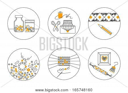 Set of six thin line round vector icons on theme of beadwork jewelry work handicraft bead weaving hobby. Storage equipment process goods.